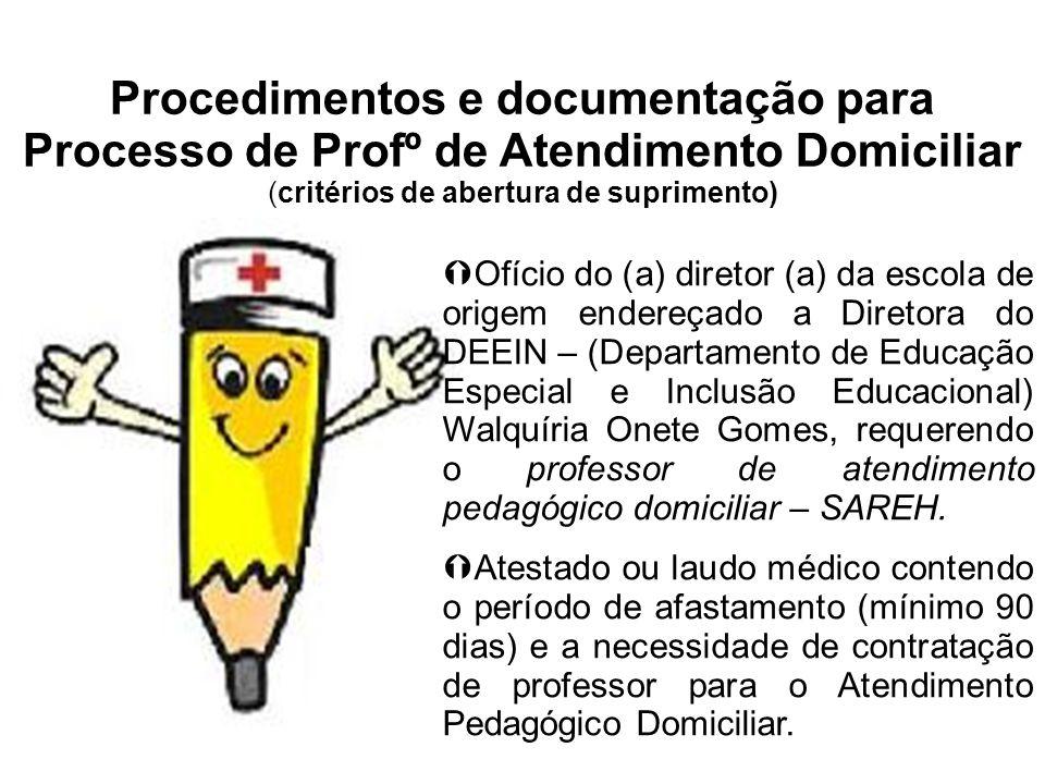 Procedimentos e documentação para Processo de Profº de Atendimento Domiciliar (critérios de abertura de suprimento) Ofício do (a) diretor (a) da escol