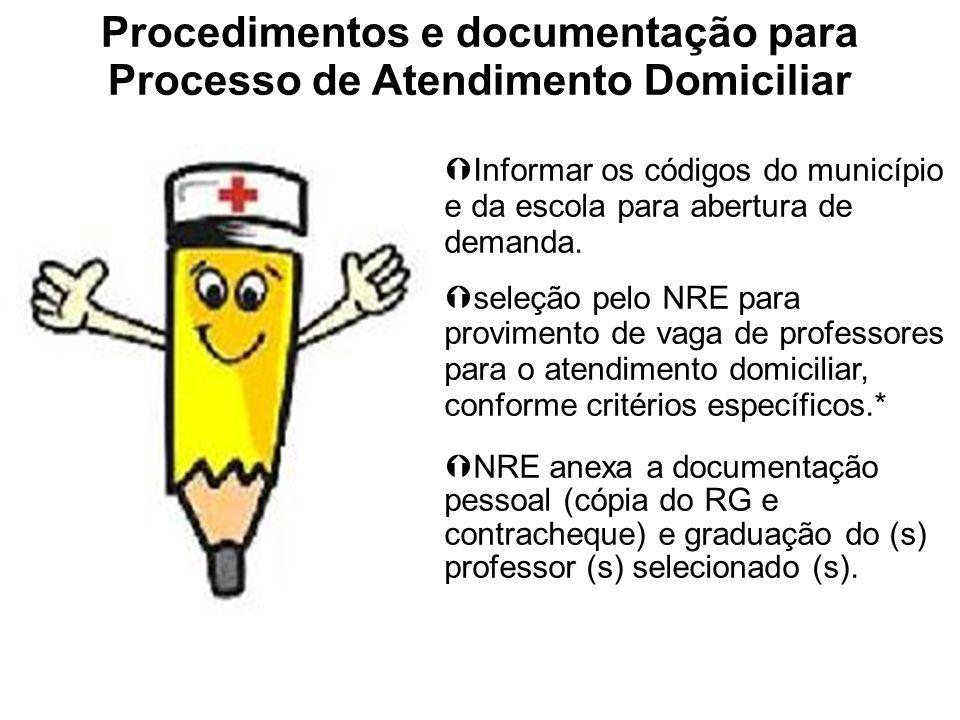 Procedimentos e documentação para Processo de Atendimento Domiciliar Informar os códigos do município e da escola para abertura de demanda. seleção pe