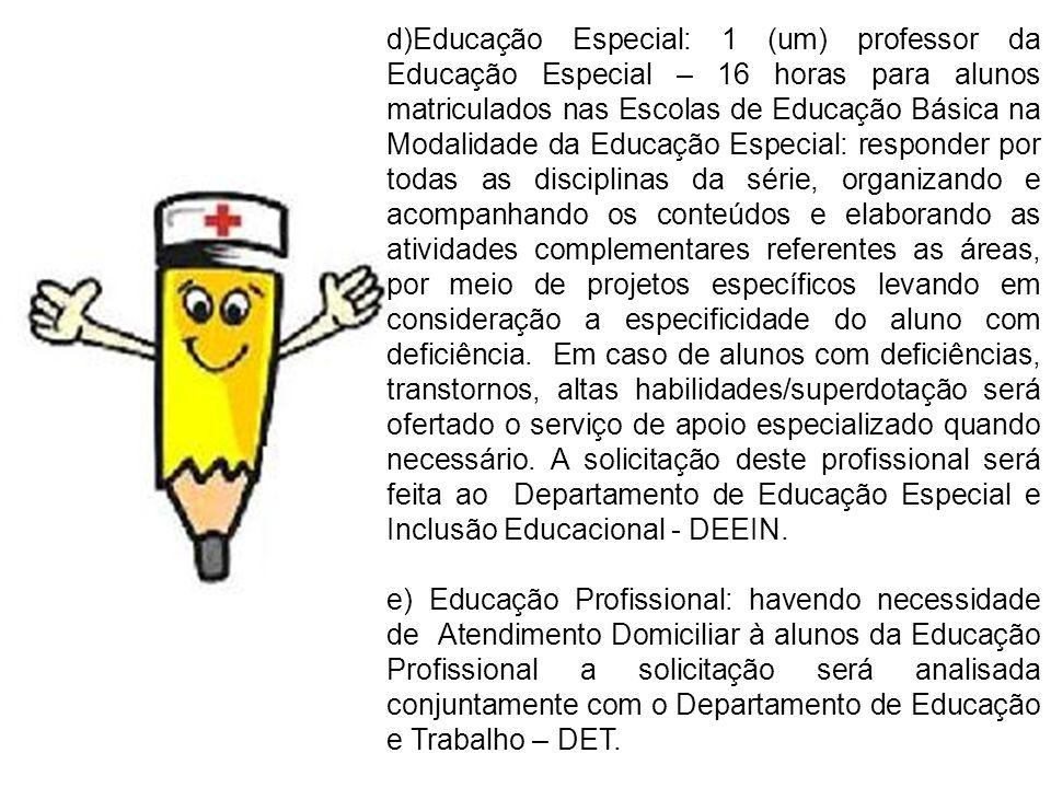 d)Educação Especial: 1 (um) professor da Educação Especial – 16 horas para alunos matriculados nas Escolas de Educação Básica na Modalidade da Educaçã