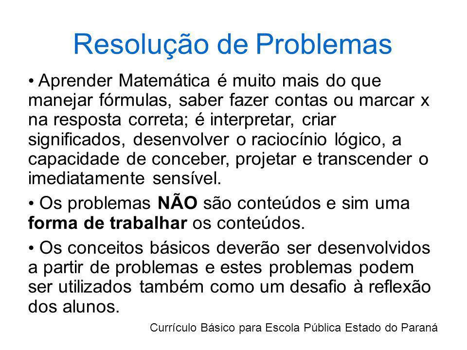 Resolução de Problemas Aprender Matemática é muito mais do que manejar fórmulas, saber fazer contas ou marcar x na resposta correta; é interpretar, cr
