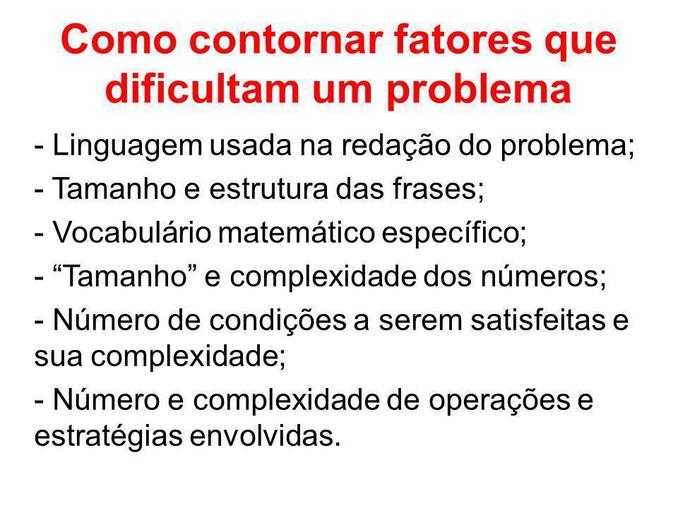 Como contornar fatores que dificultam um problema - Linguagem usada na redação do problema; - Tamanho e estrutura das frases; - Vocabulário matemático