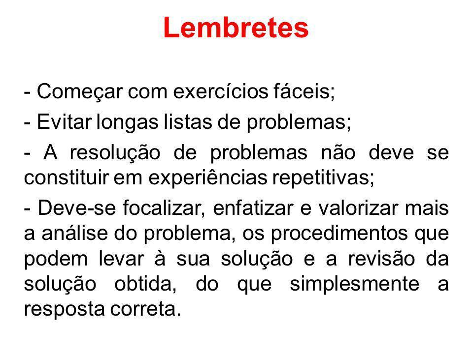 Lembretes - Começar com exercícios fáceis; - Evitar longas listas de problemas; - A resolução de problemas não deve se constituir em experiências repe