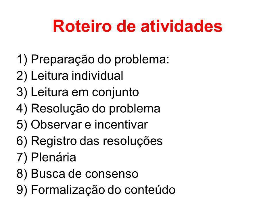 Roteiro de atividades 1) Preparação do problema: 2) Leitura individual 3) Leitura em conjunto 4) Resolução do problema 5) Observar e incentivar 6) Reg