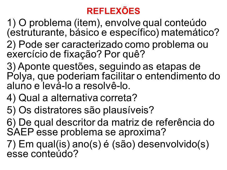 REFLEXÕES 1) O problema (item), envolve qual conteúdo (estruturante, básico e específico) matemático? 2) Pode ser caracterizado como problema ou exerc