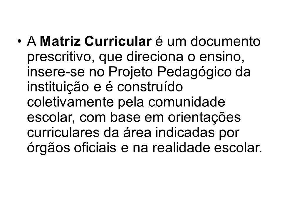 A Matriz Curricular é um documento prescritivo, que direciona o ensino, insere-se no Projeto Pedagógico da instituição e é construído coletivamente pe