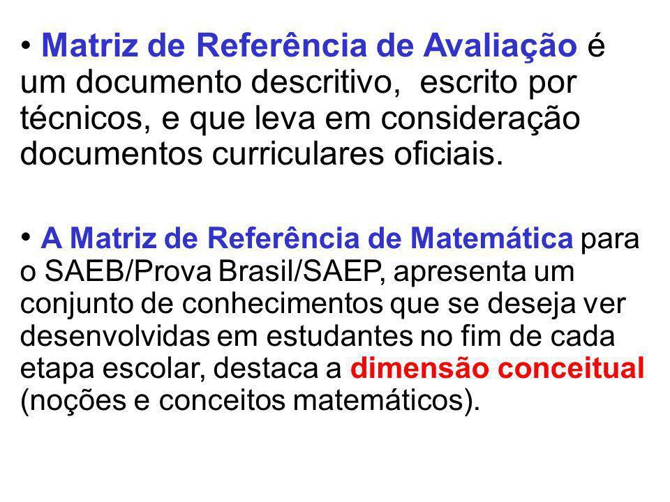 Matriz de Referência de Avaliação é um documento descritivo, escrito por técnicos, e que leva em consideração documentos curriculares oficiais. A Matr