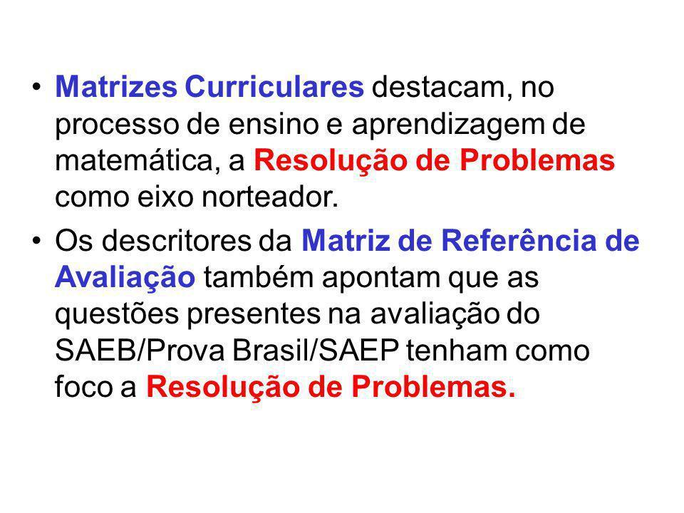 Matrizes Curriculares destacam, no processo de ensino e aprendizagem de matemática, a Resolução de Problemas como eixo norteador. Os descritores da Ma