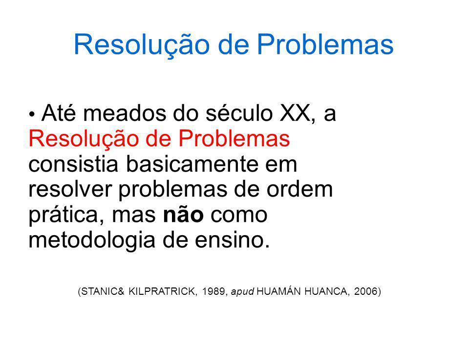 Resolução de Problemas Até meados do século XX, a Resolução de Problemas consistia basicamente em resolver problemas de ordem prática, mas não como me