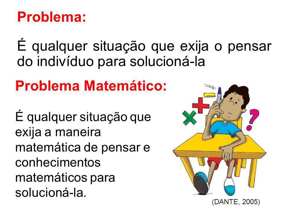 Problema: É qualquer situação que exija o pensar do indivíduo para solucioná-la Problema Matemático: É qualquer situação que exija a maneira matemátic