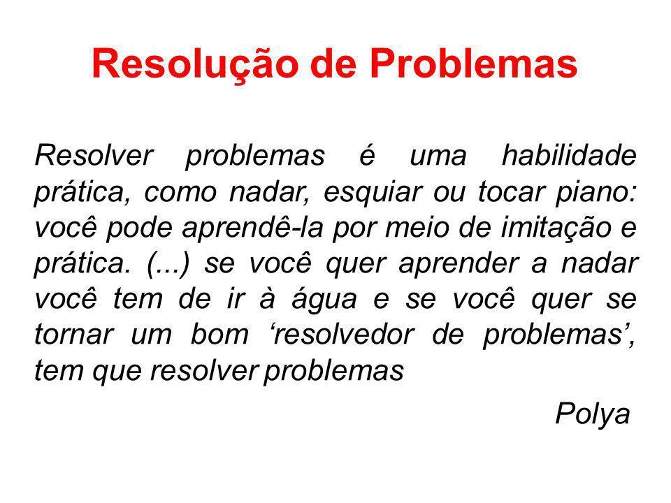 Resolução de Problemas Resolver problemas é uma habilidade prática, como nadar, esquiar ou tocar piano: você pode aprendê-la por meio de imitação e pr