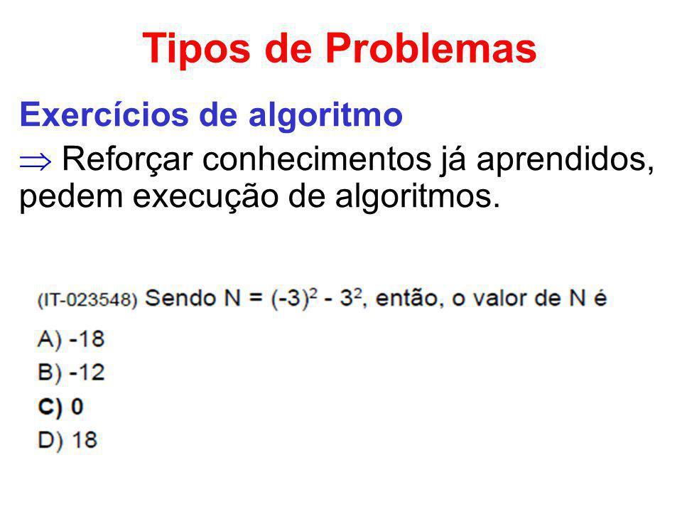 Tipos de Problemas Exercícios de algoritmo Reforçar conhecimentos já aprendidos, pedem execução de algoritmos.