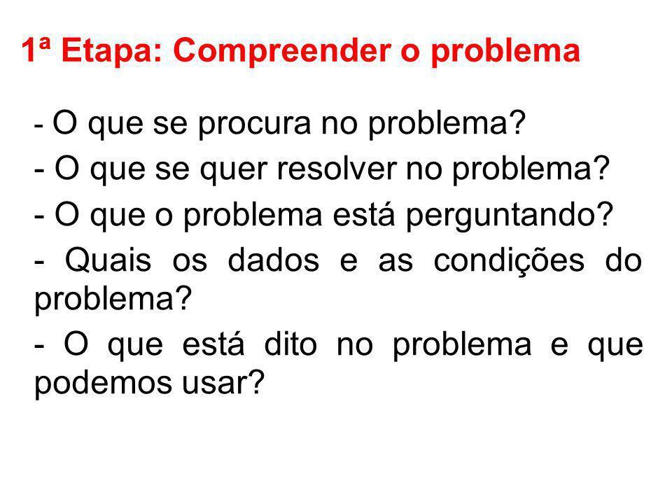 1ª Etapa: Compreender o problema - O que se procura no problema? - O que se quer resolver no problema? - O que o problema está perguntando? - Quais os