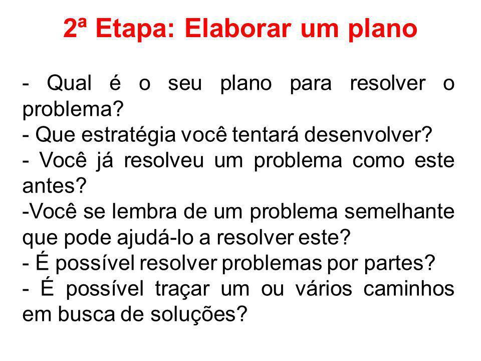 2ª Etapa: Elaborar um plano - Qual é o seu plano para resolver o problema? - Que estratégia você tentará desenvolver? - Você já resolveu um problema c