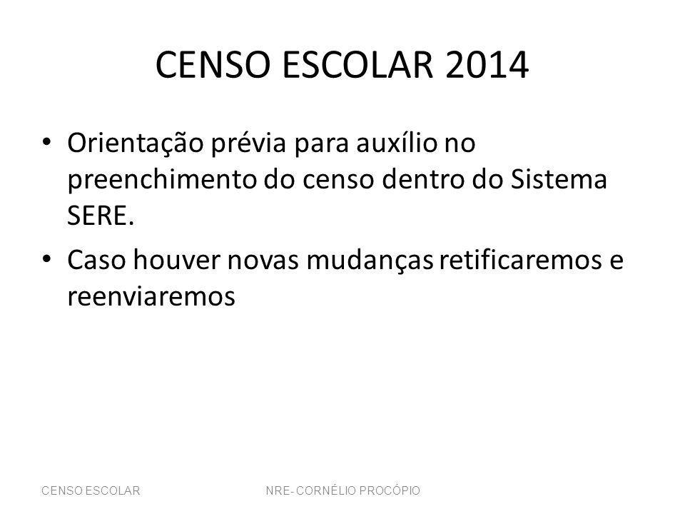 CENSO ESCOLAR 2014 Orientação prévia para auxílio no preenchimento do censo dentro do Sistema SERE.