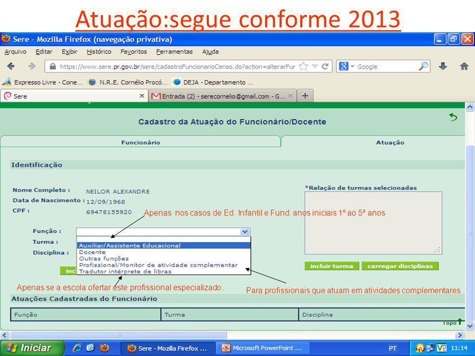 Atuação:segue conforme 2013 CENSO ESCOLARNRE- CORNÉLIO PROCÓPIO Apenas nos casos de Ed.