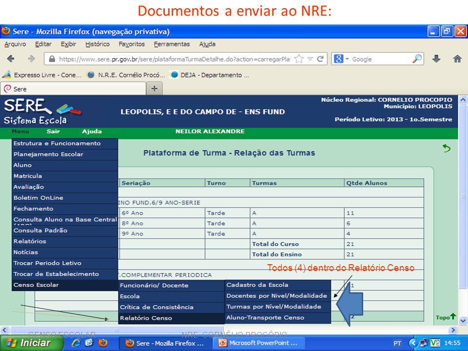 Documentos a enviar ao NRE: CENSO ESCOLARNRE- CORNÉLIO PROCÓPIO Todos (4) dentro do Relatório Censo