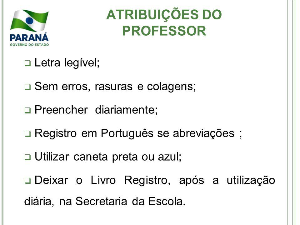 ATRIBUIÇÕES DO PROFESSOR Letra legível; Sem erros, rasuras e colagens; Preencher diariamente; Registro em Português se abreviações ; Utilizar caneta p