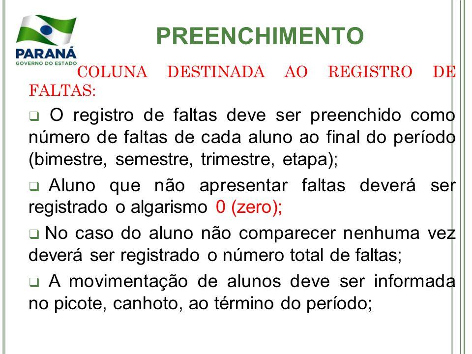 PREENCHIMENTO COLUNA DESTINADA AO REGISTRO DE FALTAS: O registro de faltas deve ser preenchido como número de faltas de cada aluno ao final do período