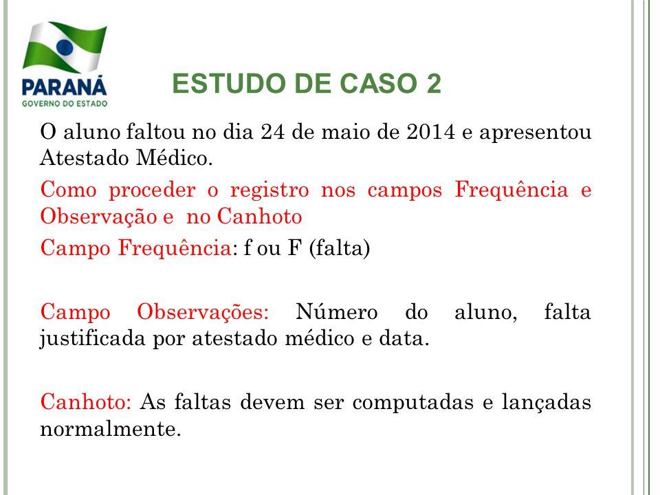 ESTUDO DE CASO 2 O aluno faltou no dia 24 de maio de 2014 e apresentou Atestado Médico. Como proceder o registro nos campos Frequência e Observação e