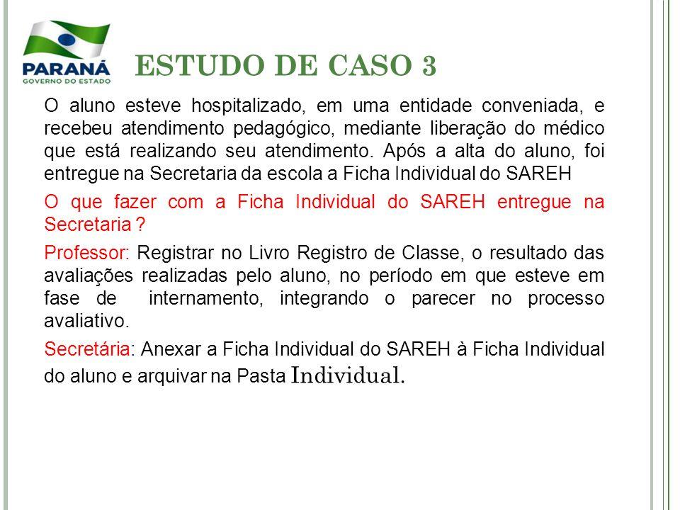 ESTUDO DE CASO 3 O aluno esteve hospitalizado, em uma entidade conveniada, e recebeu atendimento pedagógico, mediante liberação do médico que está rea