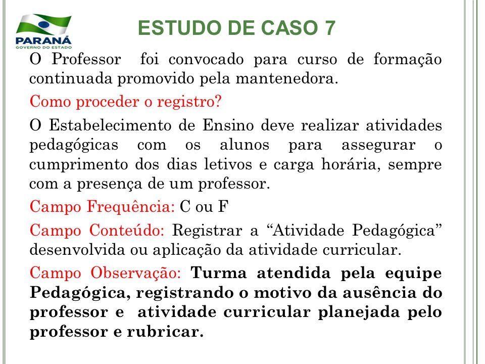 ESTUDO DE CASO 7 O Professor foi convocado para curso de formação continuada promovido pela mantenedora. Como proceder o registro? O Estabelecimento d