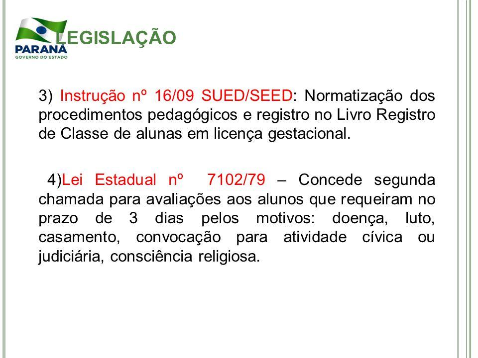 3) Instrução nº 16/09 SUED/SEED: Normatização dos procedimentos pedagógicos e registro no Livro Registro de Classe de alunas em licença gestacional. 4