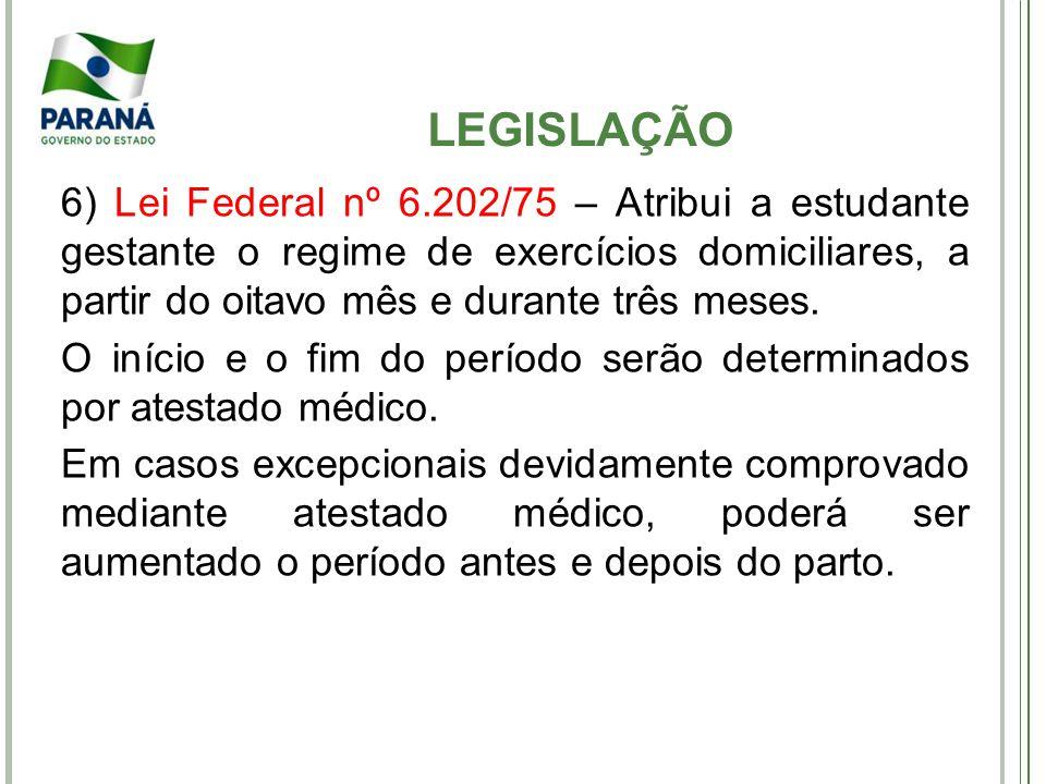 6) Lei Federal nº 6.202/75 – Atribui a estudante gestante o regime de exercícios domiciliares, a partir do oitavo mês e durante três meses. O início e