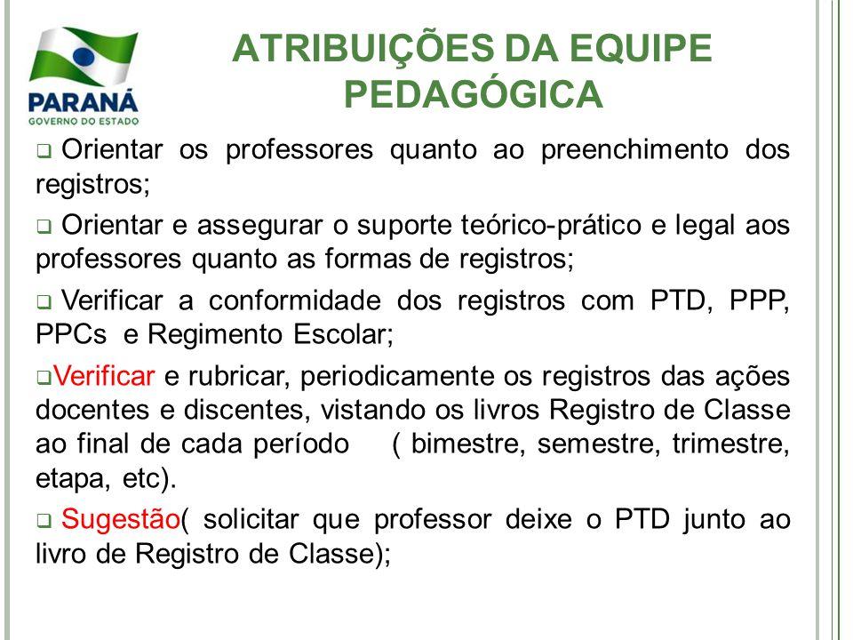 ATRIBUIÇÕES DA EQUIPE PEDAGÓGICA Orientar os professores quanto ao preenchimento dos registros; Orientar e assegurar o suporte teórico-prático e legal