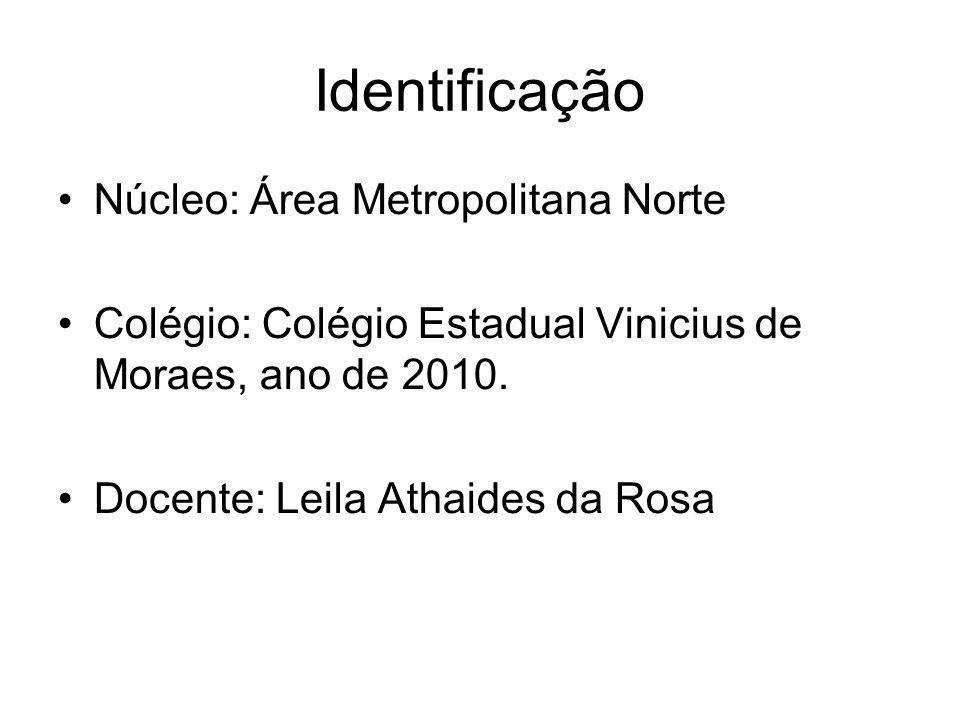 Identificação Núcleo: Área Metropolitana Norte Colégio: Colégio Estadual Vinicius de Moraes, ano de 2010. Docente: Leila Athaides da Rosa
