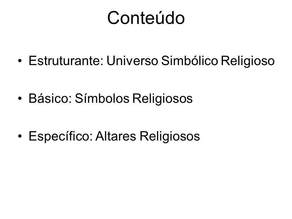 Conteúdo Estruturante: Universo Simbólico Religioso Básico: Símbolos Religiosos Específico: Altares Religiosos
