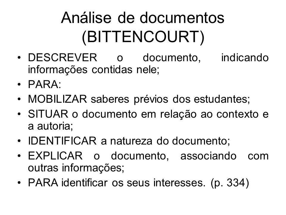 Análise de documentos (BITTENCOURT) DESCREVER o documento, indicando informações contidas nele; PARA: MOBILIZAR saberes prévios dos estudantes; SITUAR