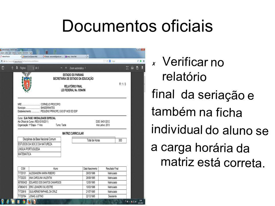 Documentos oficiais Verificar no relatório final da seriação e também na ficha individual do aluno se a carga horária da matriz está correta.