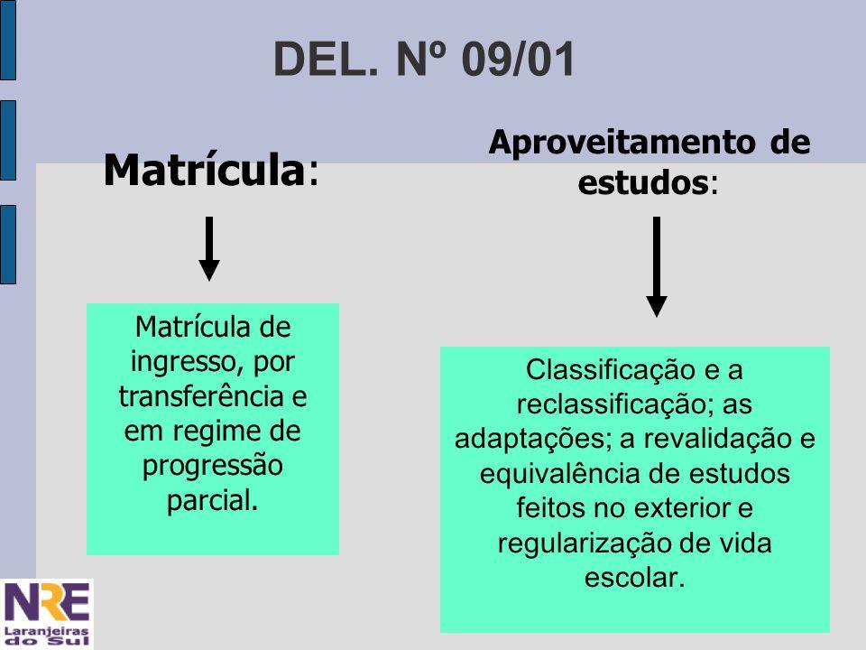 DEL. Nº 09/01 Matrícula: Matrícula de ingresso, por transferência e em regime de progressão parcial. Aproveitamento de estudos: Classificação e a recl