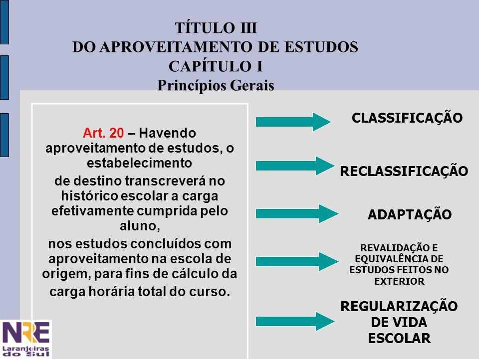 TÍTULO III DO APROVEITAMENTO DE ESTUDOS CAPÍTULO I Princípios Gerais Art.
