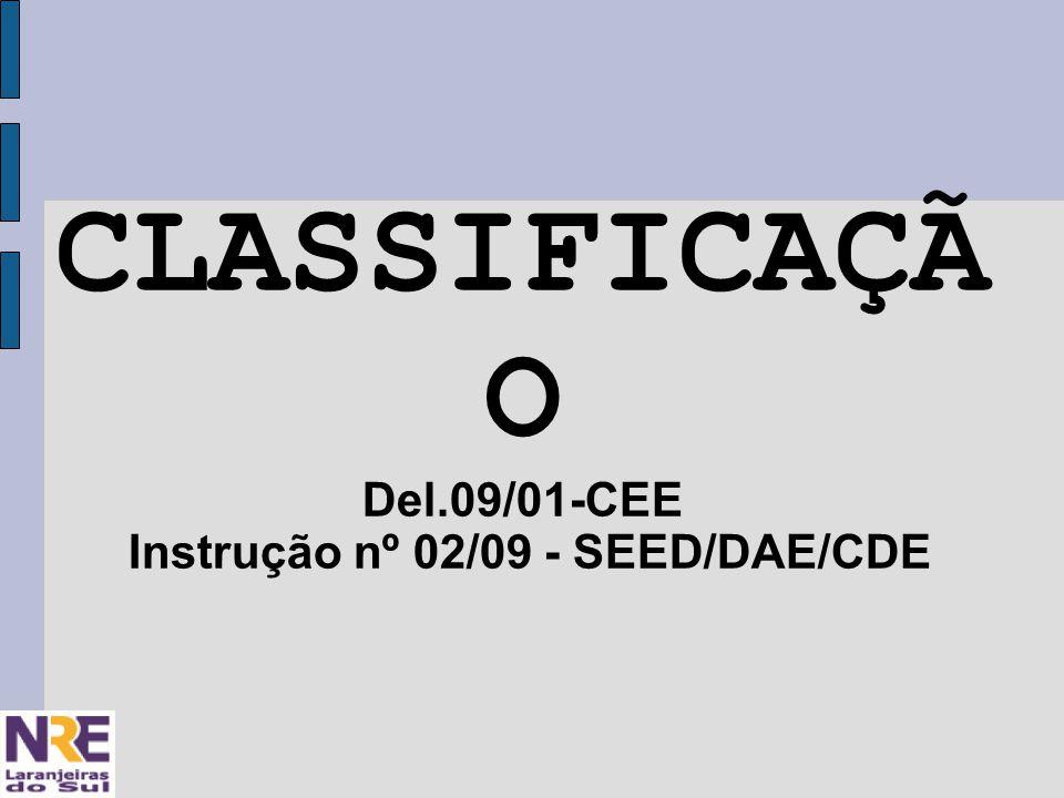 CLASSIFICAÇÃ O Del.09/01-CEE Instrução nº 02/09 - SEED/DAE/CDE