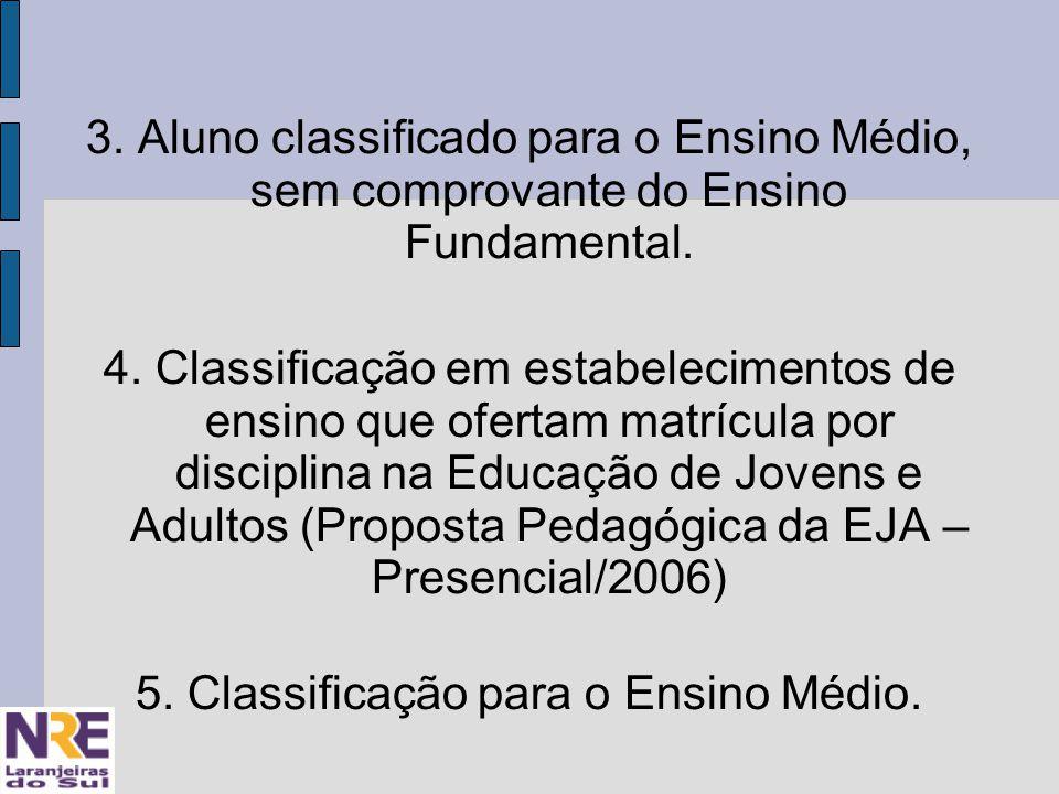 3. Aluno classificado para o Ensino Médio, sem comprovante do Ensino Fundamental.