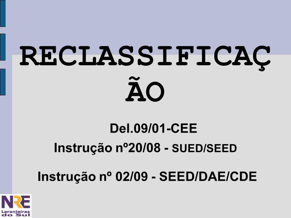 RECLASSIFICAÇ ÃO Del.09/01-CEE Instrução nº20/08 - SUED/SEED Instrução nº 02/09 - SEED/DAE/CDE