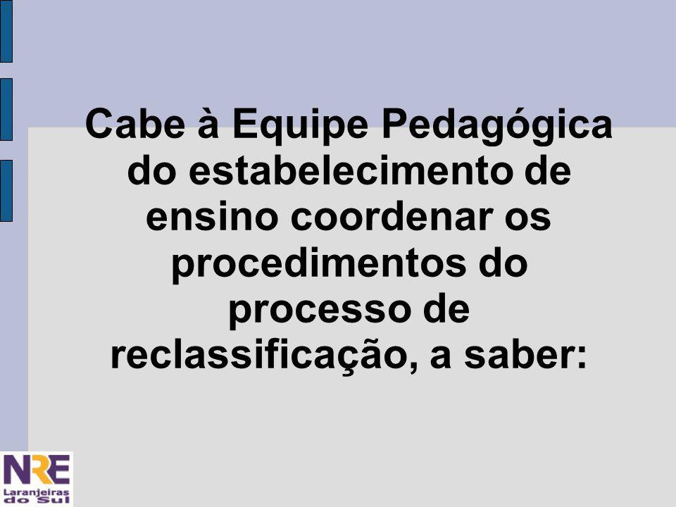 Cabe à Equipe Pedagógica do estabelecimento de ensino coordenar os procedimentos do processo de reclassificação, a saber: