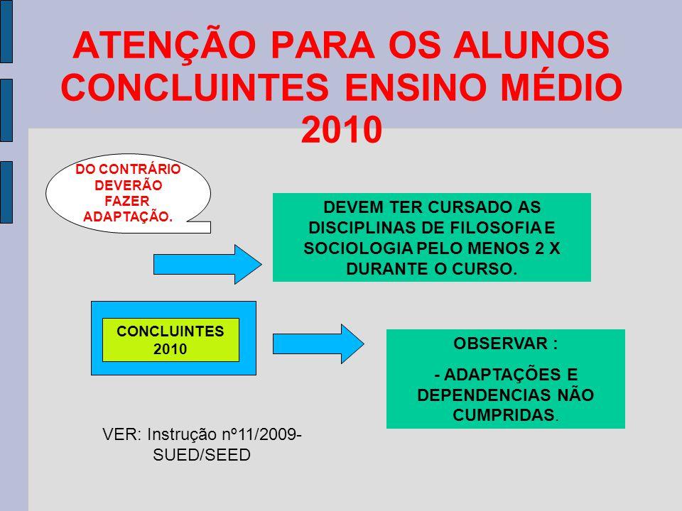 ATENÇÃO PARA OS ALUNOS CONCLUINTES ENSINO MÉDIO 2010 CONCLUINTES 2010 DEVEM TER CURSADO AS DISCIPLINAS DE FILOSOFIA E SOCIOLOGIA PELO MENOS 2 X DURANTE O CURSO.