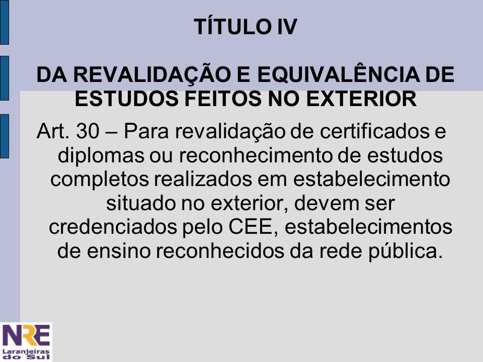 TÍTULO IV DA REVALIDAÇÃO E EQUIVALÊNCIA DE ESTUDOS FEITOS NO EXTERIOR Art.