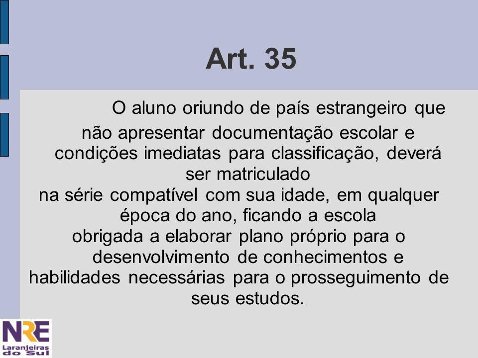 Art. 35 O aluno oriundo de país estrangeiro que não apresentar documentação escolar e condições imediatas para classificação, deverá ser matriculado n