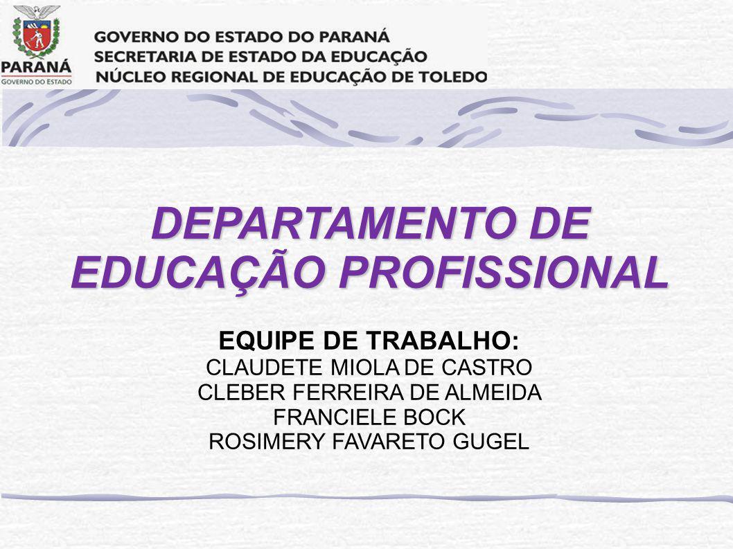 DEPARTAMENTO DE EDUCAÇÃO PROFISSIONAL EQUIPE DE TRABALHO: CLAUDETE MIOLA DE CASTRO CLEBER FERREIRA DE ALMEIDA FRANCIELE BOCK ROSIMERY FAVARETO GUGEL