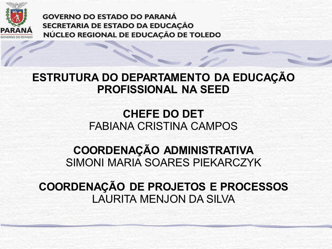 ESTRUTURA DO DEPARTAMENTO DA EDUCAÇÃO PROFISSIONAL NA SEED CHEFE DO DET FABIANA CRISTINA CAMPOS COORDENAÇÃO ADMINISTRATIVA SIMONI MARIA SOARES PIEKARCZYK COORDENAÇÃO DE PROJETOS E PROCESSOS LAURITA MENJON DA SILVA