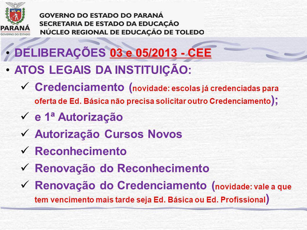 03 e 05/2013 - CEEDELIBERAÇÕES 03 e 05/2013 - CEE ATOS LEGAIS DA INSTITUIÇÃO: Credenciamento ( novidade: escolas já credenciadas para oferta de Ed.
