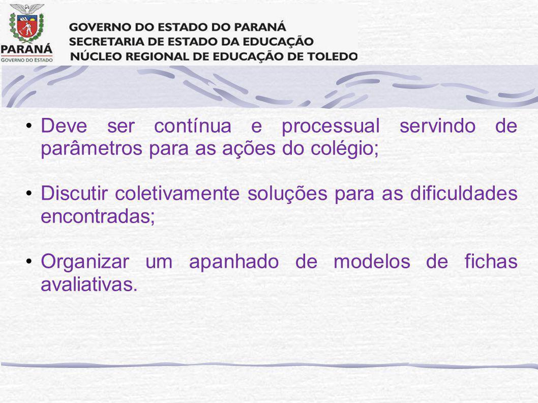 Deve ser contínua e processual servindo de parâmetros para as ações do colégio; Discutir coletivamente soluções para as dificuldades encontradas; Organizar um apanhado de modelos de fichas avaliativas.