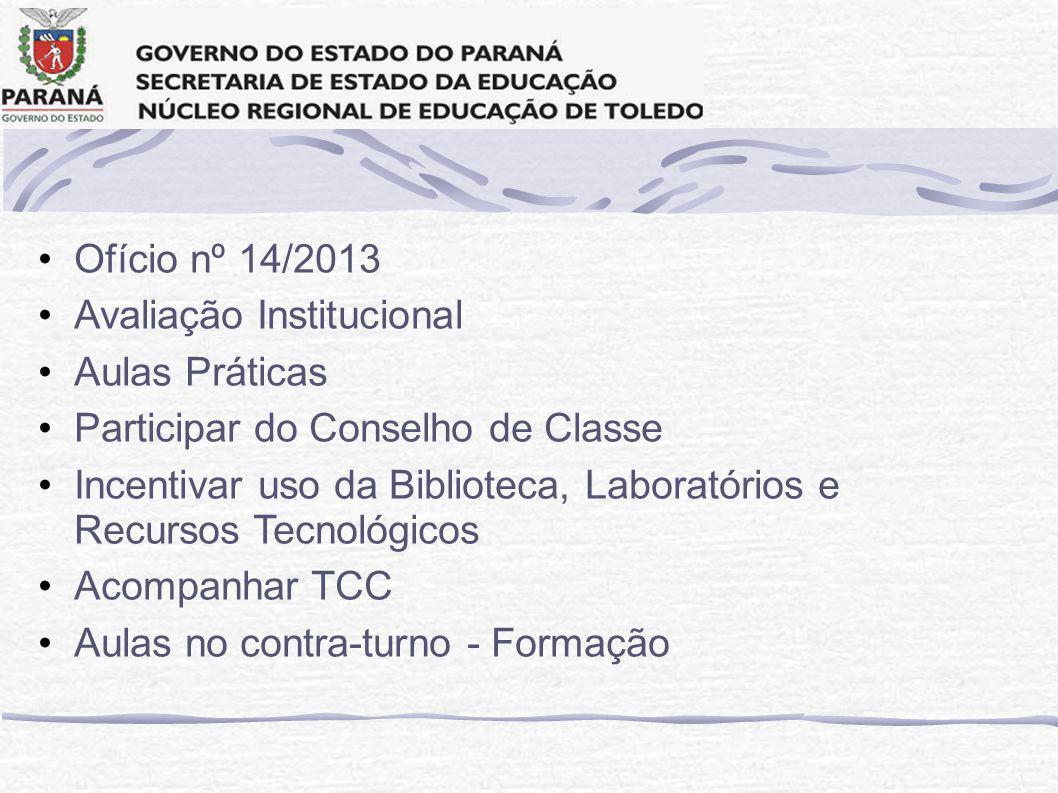 Ofício nº 14/2013 Avaliação Institucional Aulas Práticas Participar do Conselho de Classe Incentivar uso da Biblioteca, Laboratórios e Recursos Tecnológicos Acompanhar TCC Aulas no contra-turno - Formação