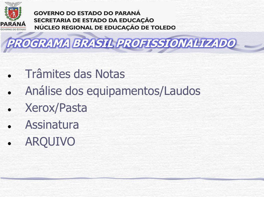 Trâmites das Notas Análise dos equipamentos/Laudos Xerox/Pasta Assinatura ARQUIVO