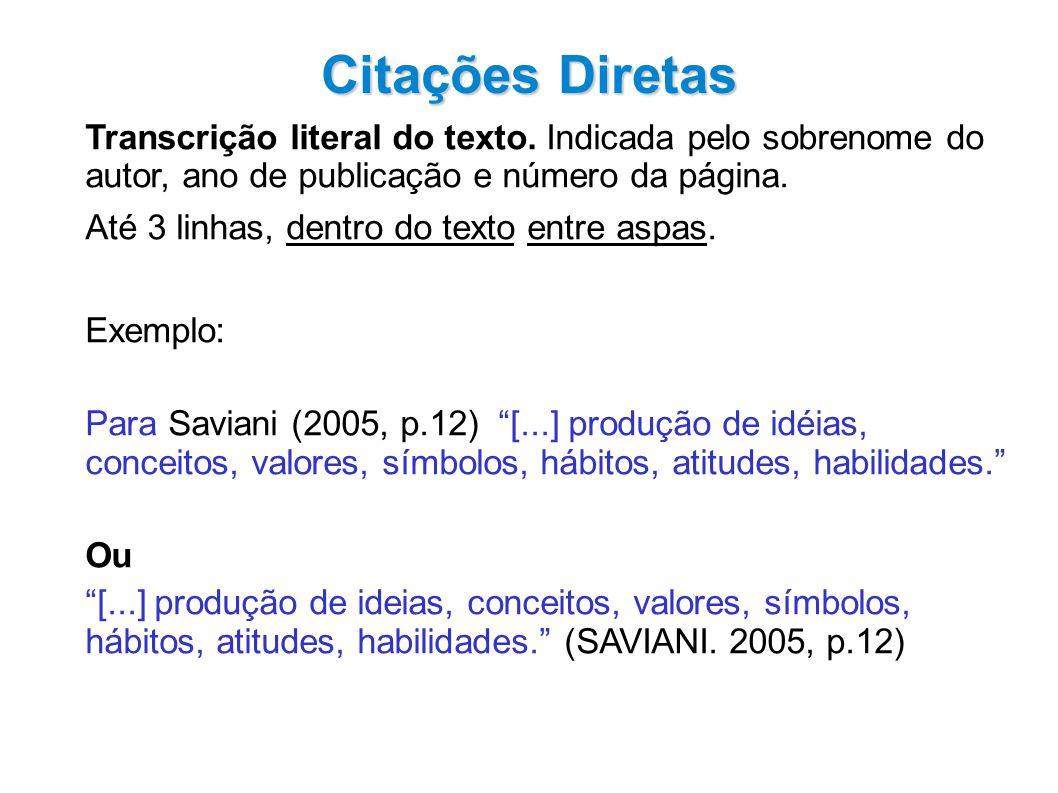 Citações Diretas Transcrição literal do texto.