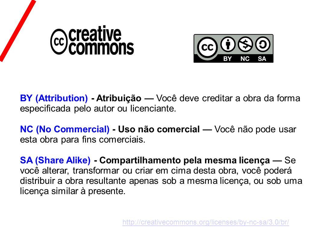 BY (Attribution) - Atribuição Você deve creditar a obra da forma especificada pelo autor ou licenciante.