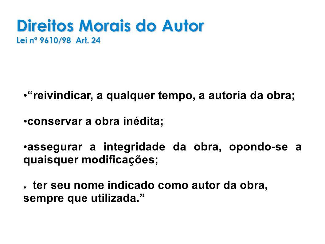 Direitos Morais do Autor Lei nº 9610/98 Art.